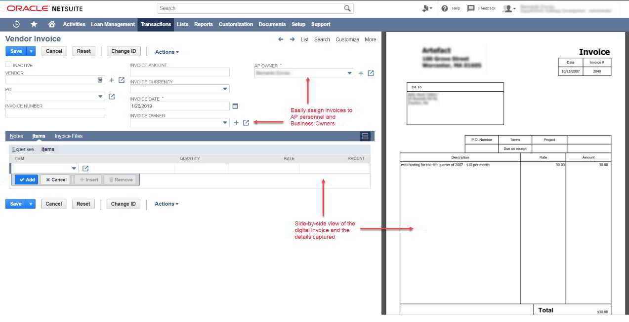 Software invoice / faktur Oracle NetSuite